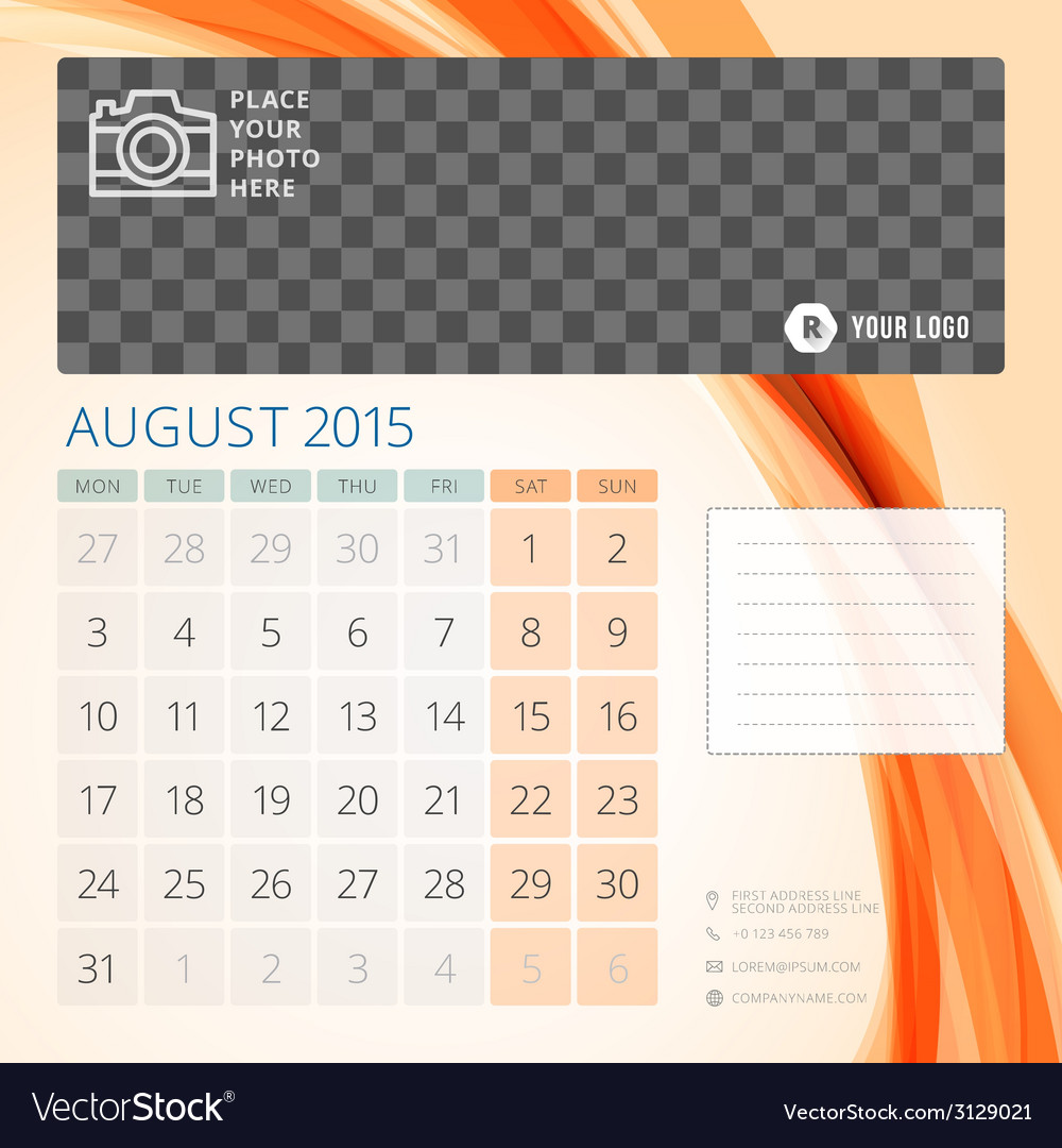 Calendar 2015 august template with place for photo vector | Price: 1 Credit (USD $1)