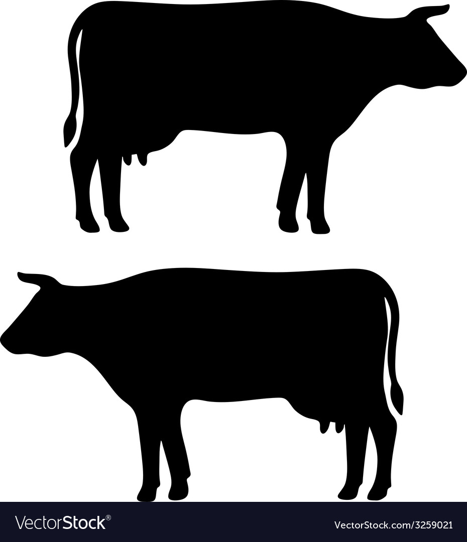 Cow silhouette vector | Price: 1 Credit (USD $1)