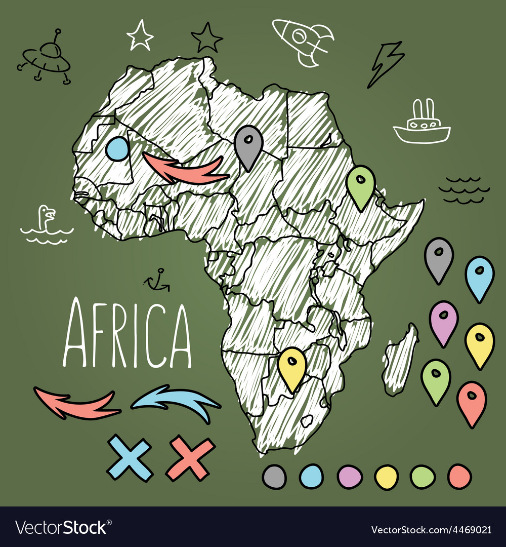 Doodle africa map on green chalkboard with pins vector | Price: 1 Credit (USD $1)