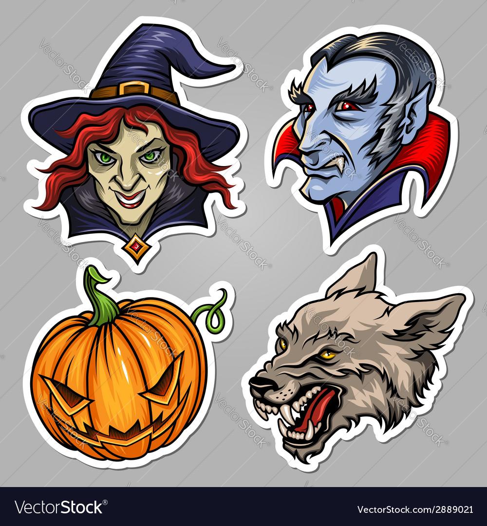 Halloween stickers set vector | Price: 3 Credit (USD $3)