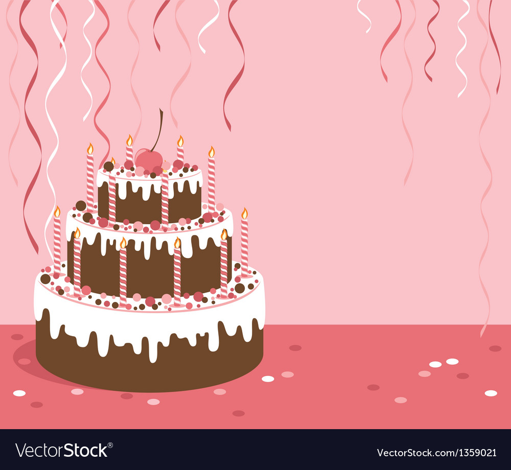 Pink background with birthday cake vector | Price: 1 Credit (USD $1)