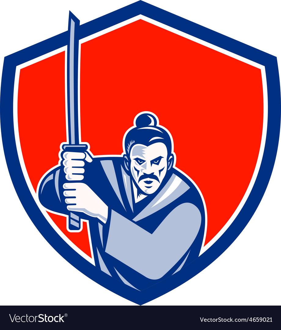 Samurai warrior katana sword shield retro vector | Price: 1 Credit (USD $1)