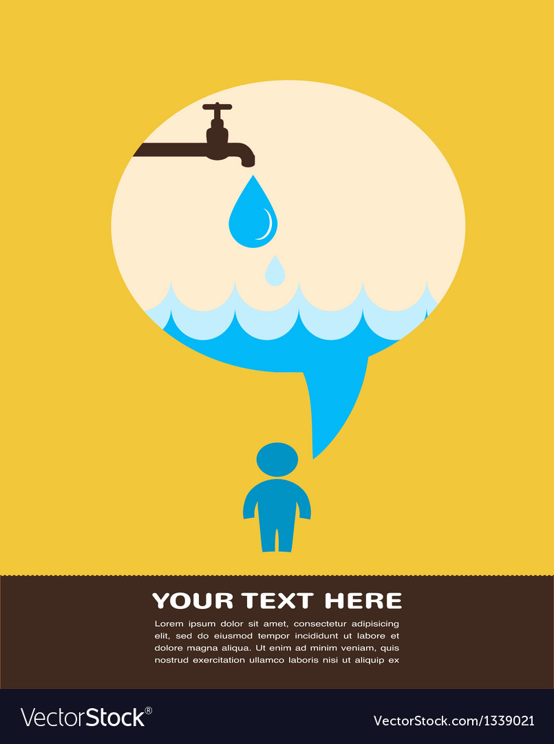 Save the water poster with raining tap vector | Price: 1 Credit (USD $1)