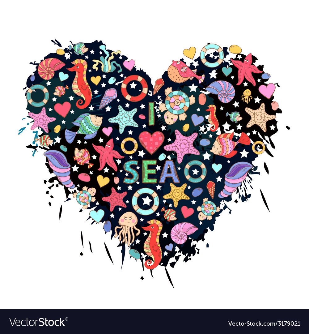 Sea life heart vector | Price: 1 Credit (USD $1)