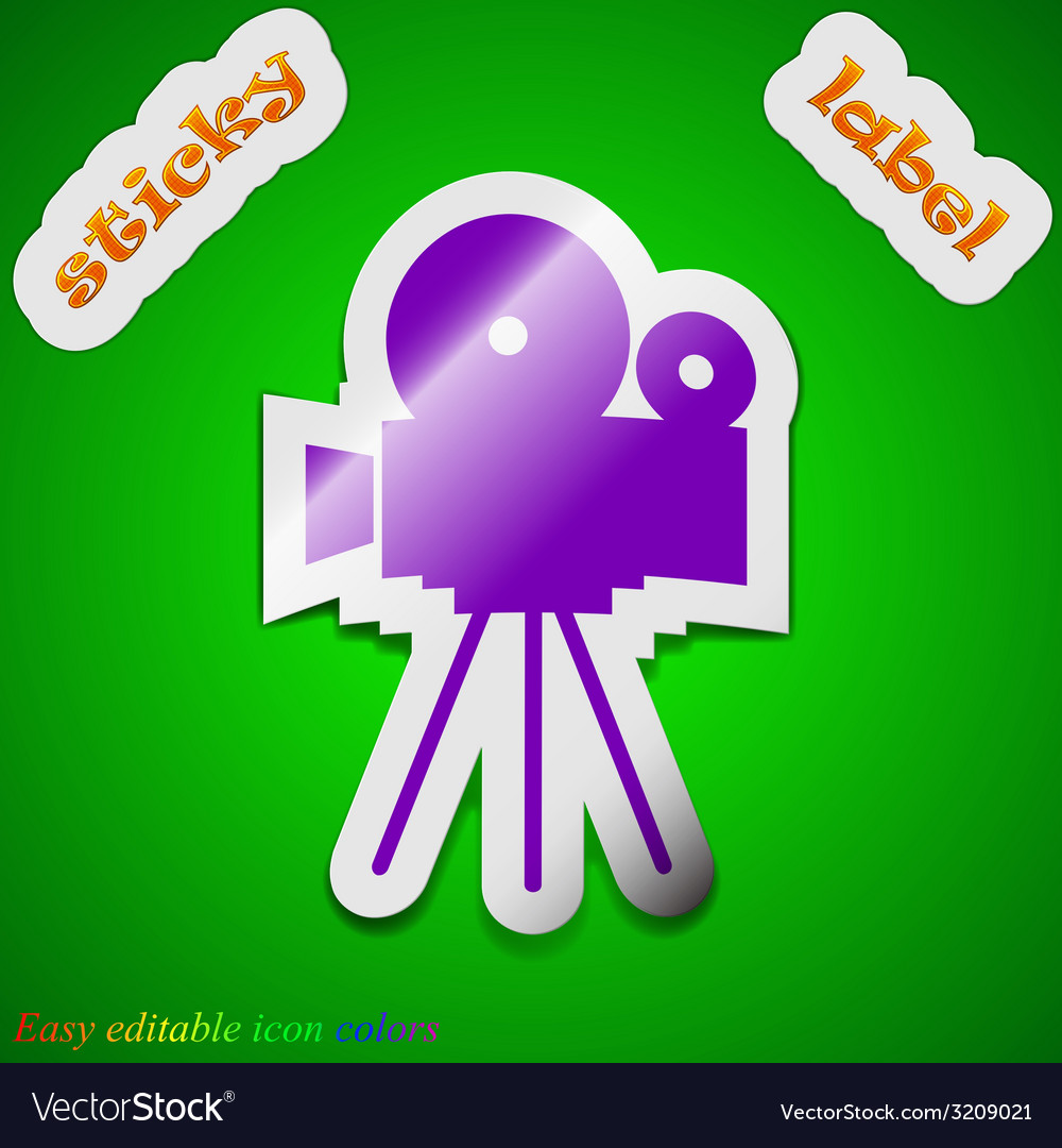 Video camera icon sign symbol chic colored sticky vector | Price: 1 Credit (USD $1)