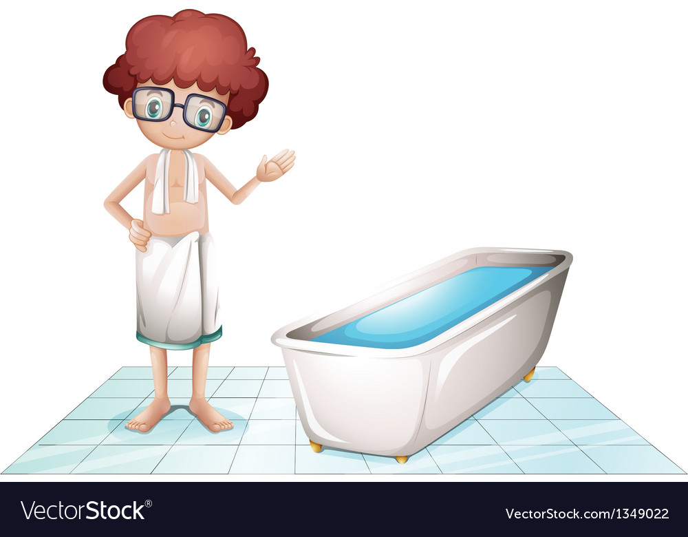 A boy with a towel beside a bathtub vector | Price: 1 Credit (USD $1)