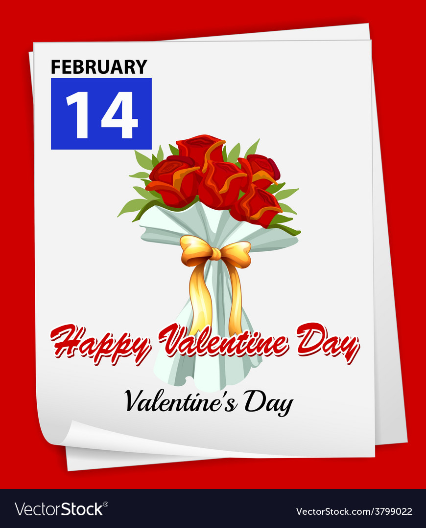 A calendar showing the 14th of february vector   Price: 1 Credit (USD $1)