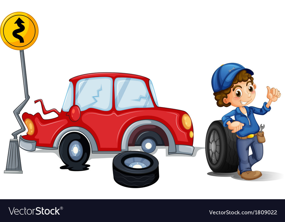 A mechanic near the car accident area vector | Price: 1 Credit (USD $1)