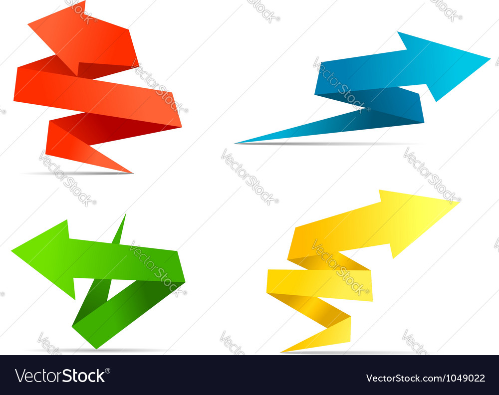 Arrow web banners and labels in origami style vector | Price: 1 Credit (USD $1)