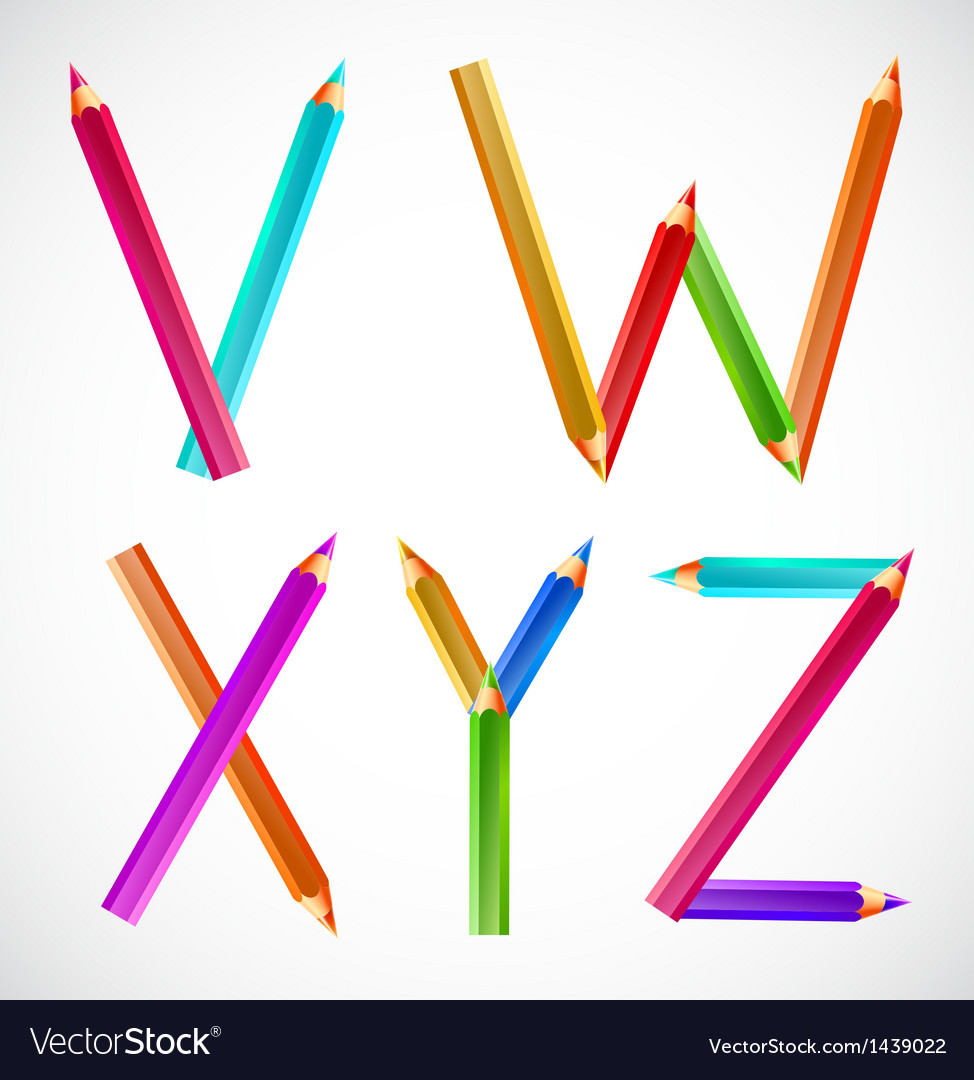 Colorful alphabet of pencils v w x y z vector | Price: 1 Credit (USD $1)