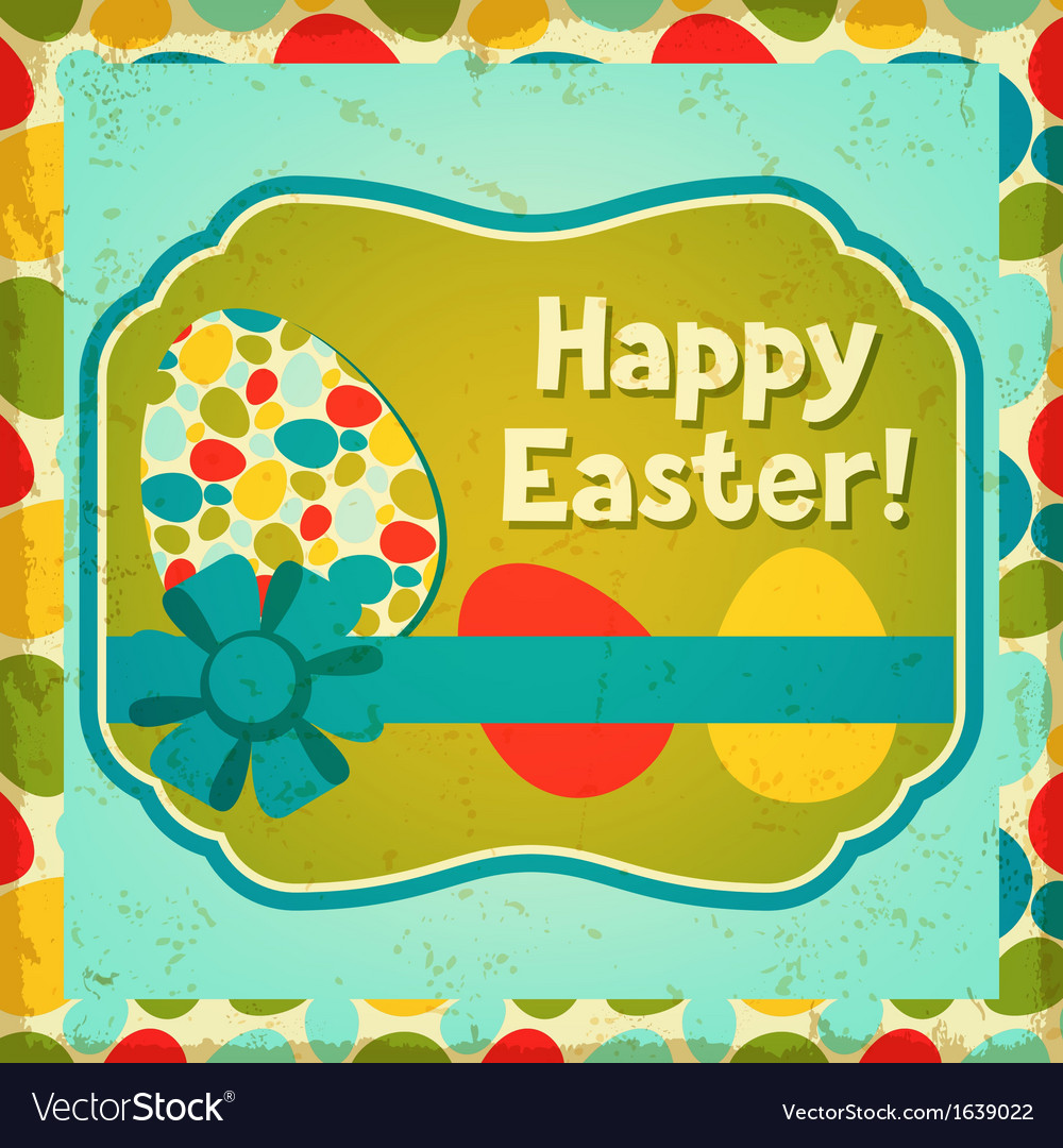 Happy easter greeting card background vector | Price: 1 Credit (USD $1)