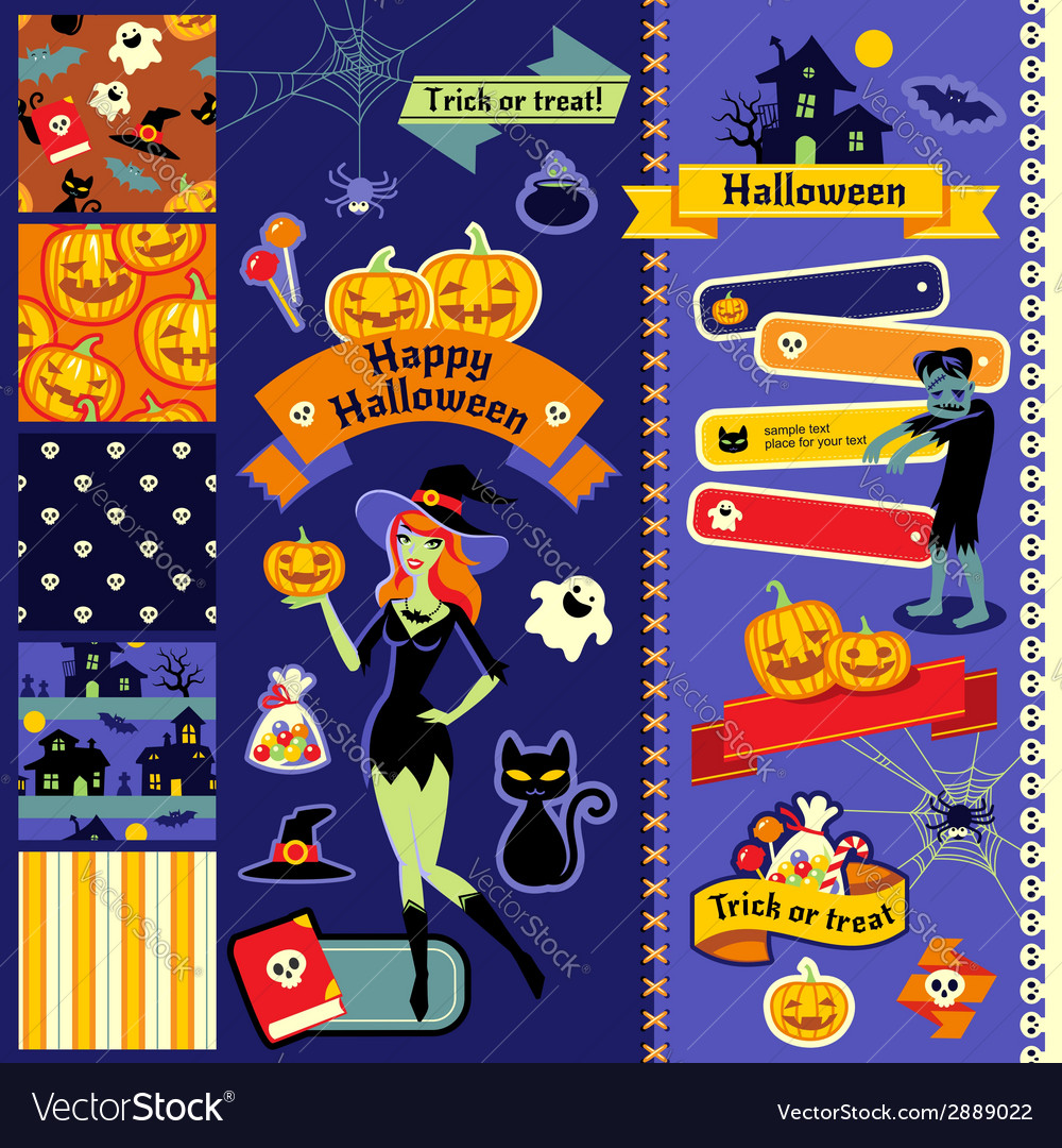 Happy halloween scrapbook witch vector | Price: 1 Credit (USD $1)