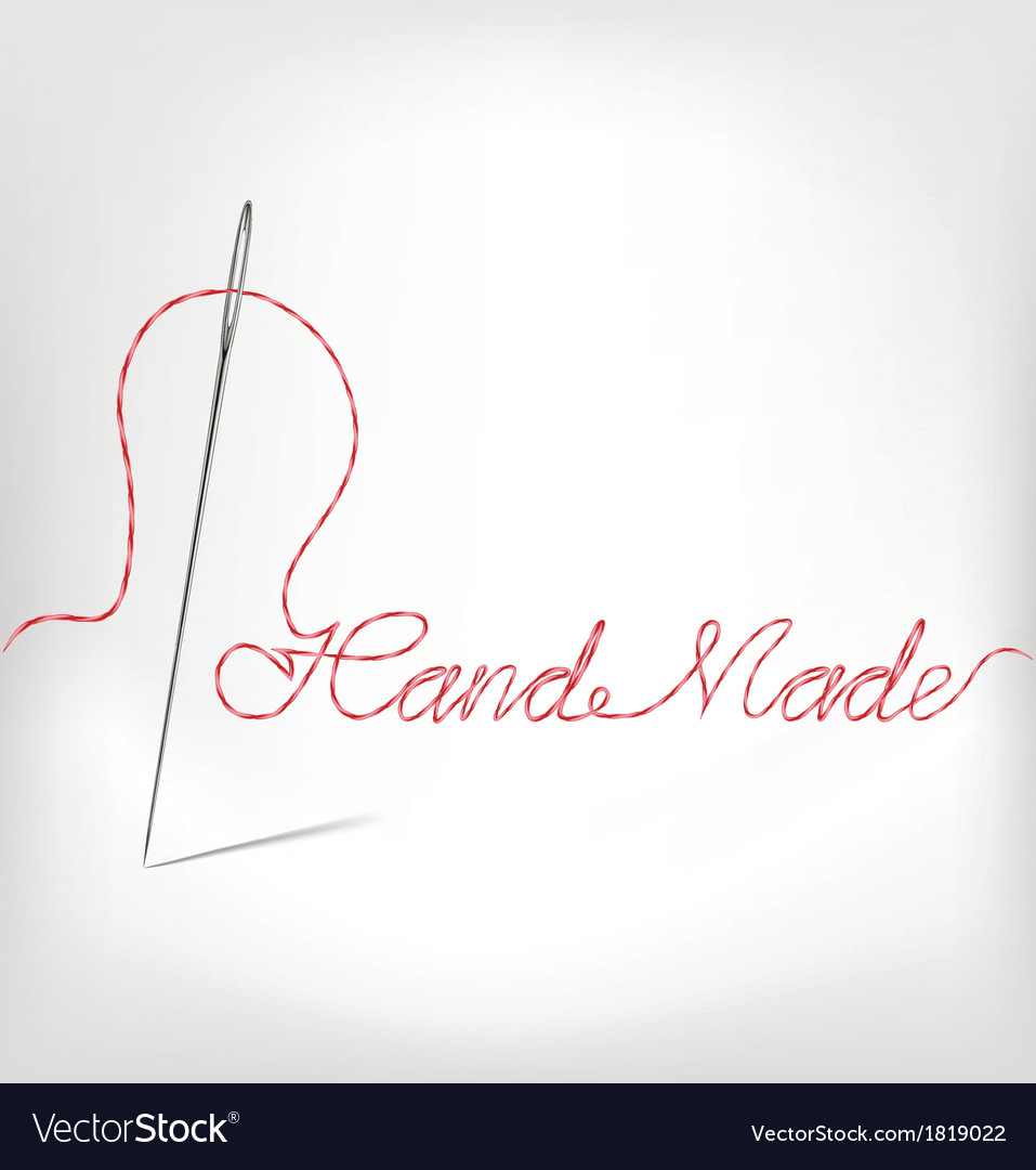 Needle with thread hand made isolated on white vector | Price: 1 Credit (USD $1)