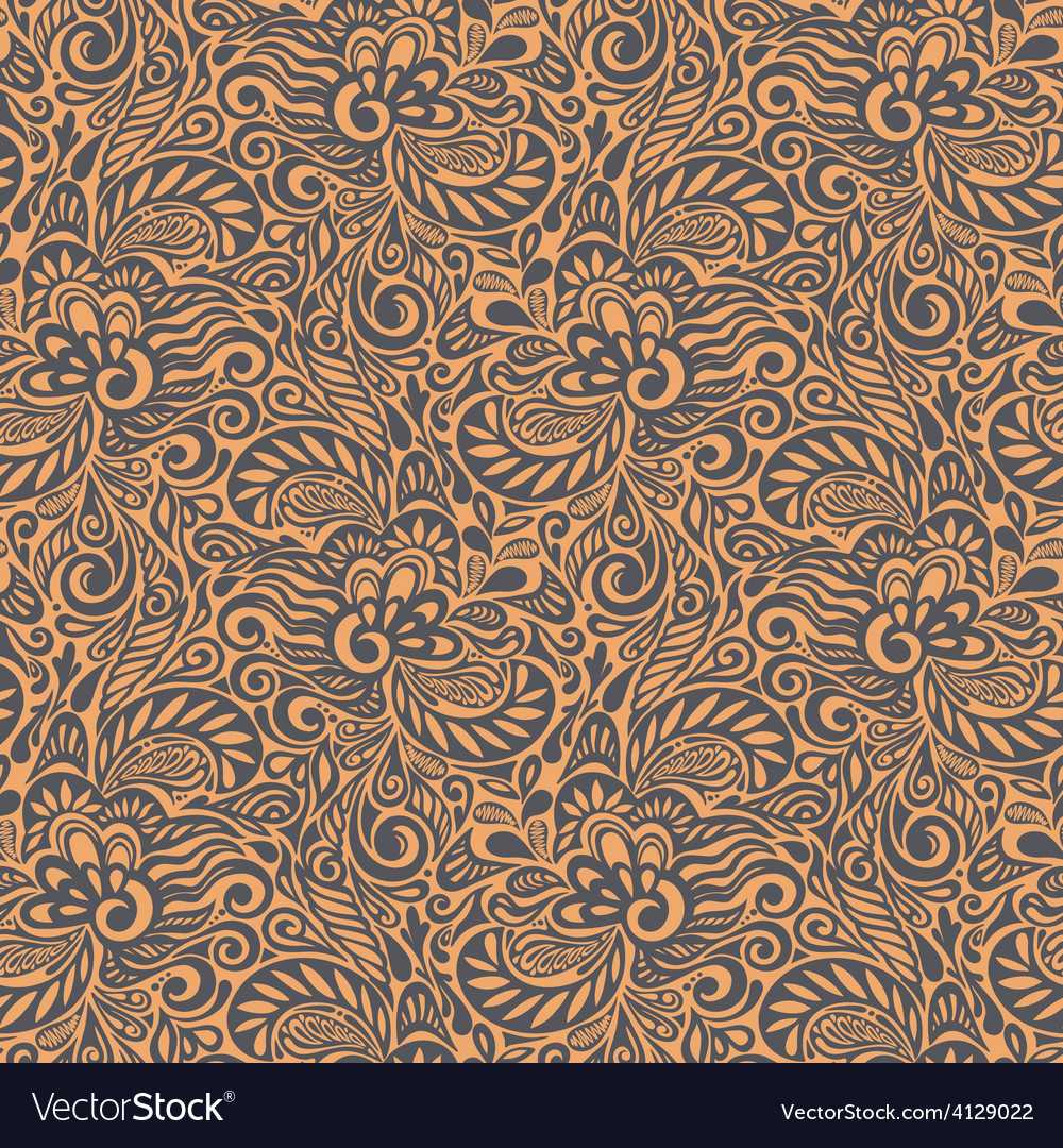 Seamless abstract curly floral pattern vector | Price: 1 Credit (USD $1)
