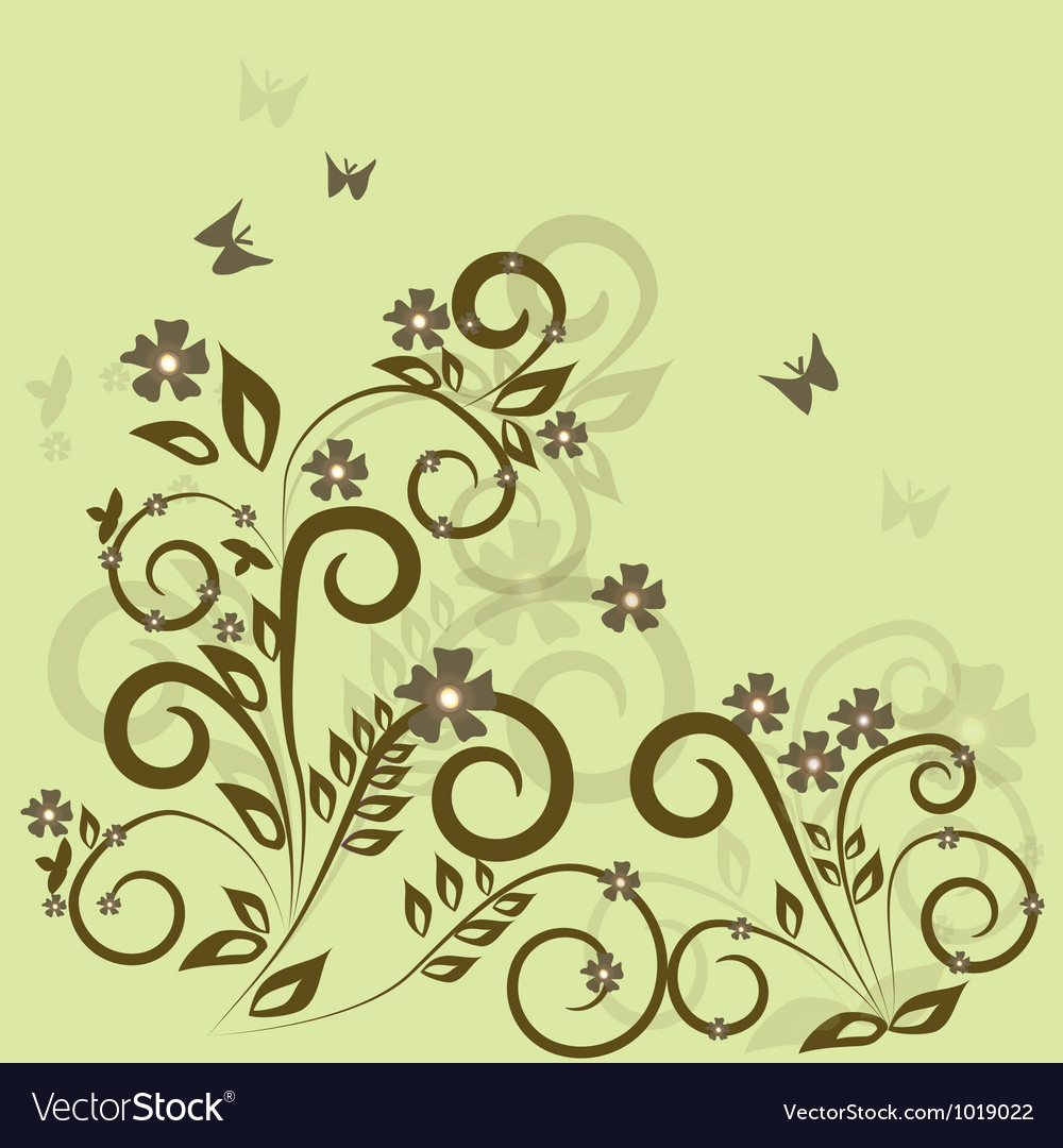 Stylish floral green background vector | Price: 1 Credit (USD $1)