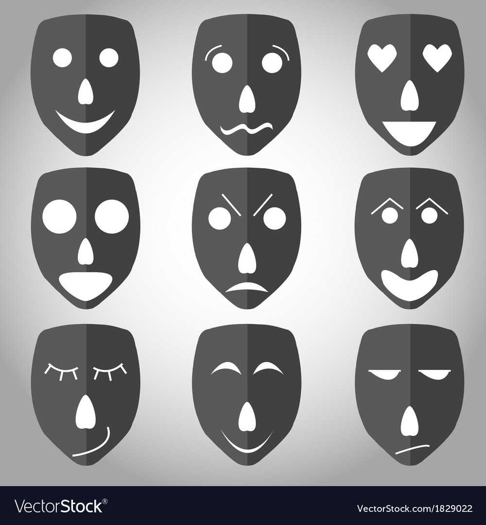 Theater mask emotion set vector | Price: 1 Credit (USD $1)