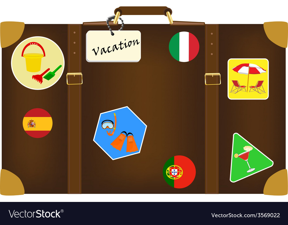 Travel bag with stickers vector | Price: 1 Credit (USD $1)