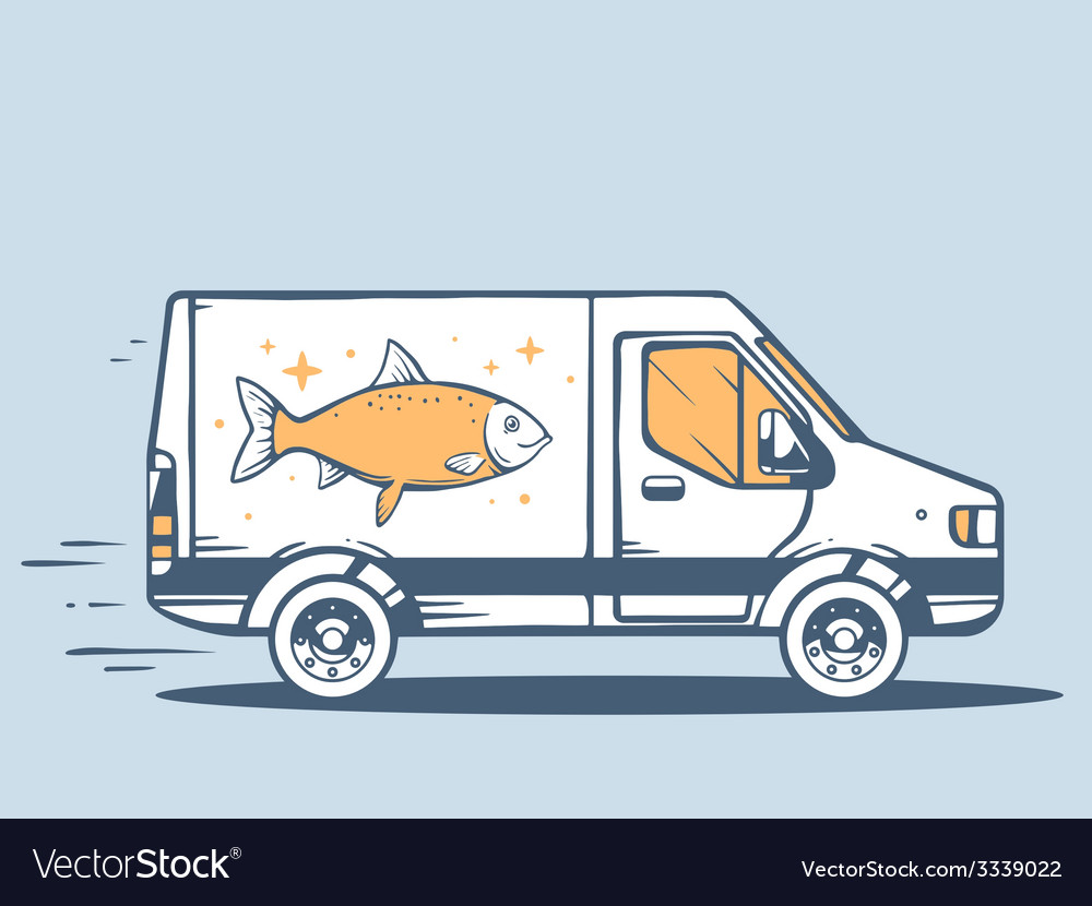 Van free and fast delivering fish to cust vector | Price: 3 Credit (USD $3)