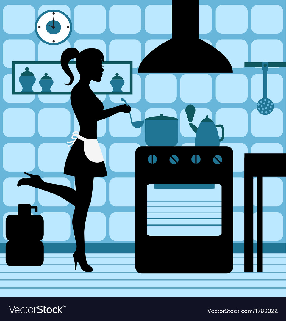 Woman cooking in the kitchen vector | Price: 1 Credit (USD $1)