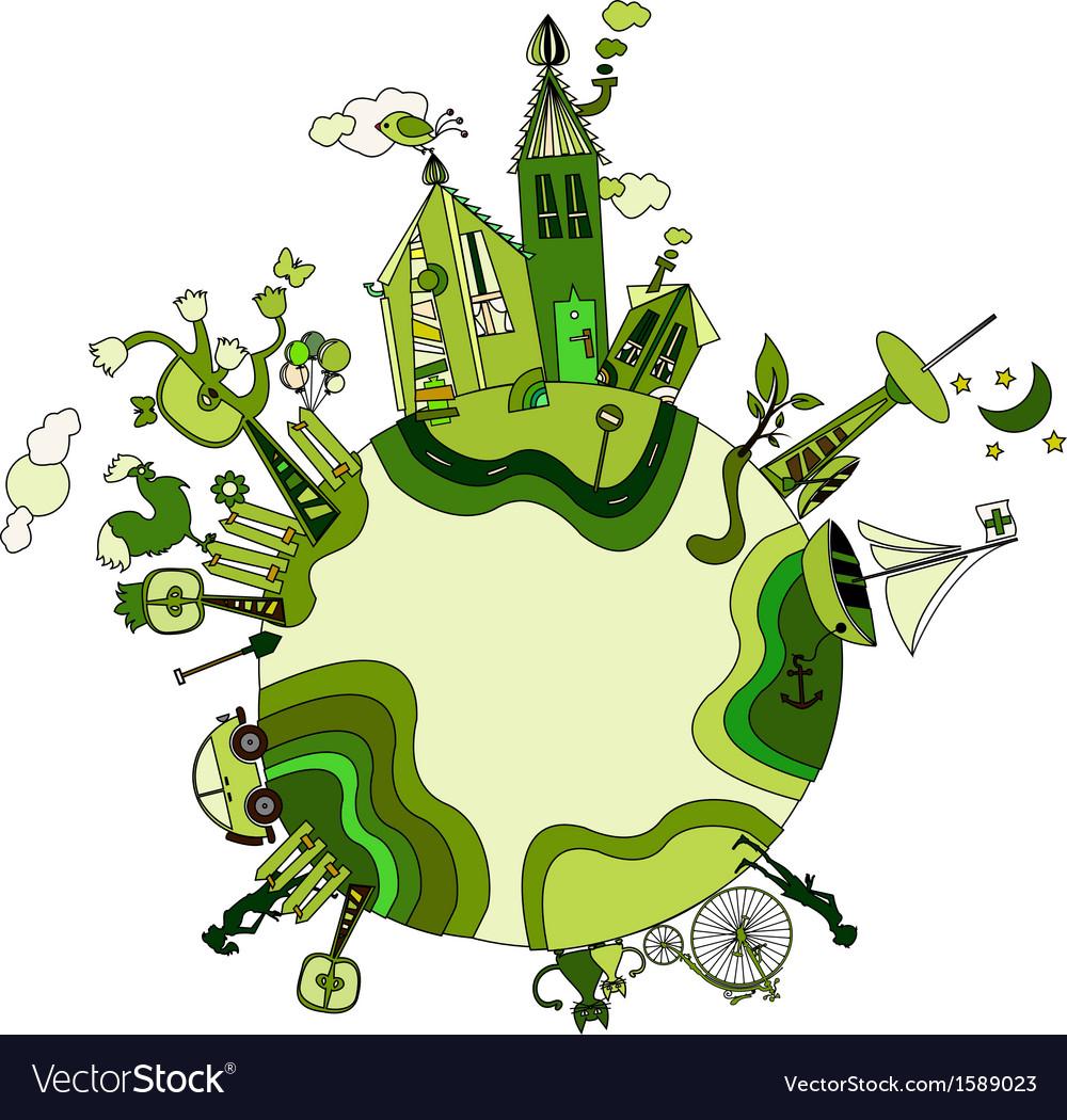 Around the green bio world vector | Price: 1 Credit (USD $1)