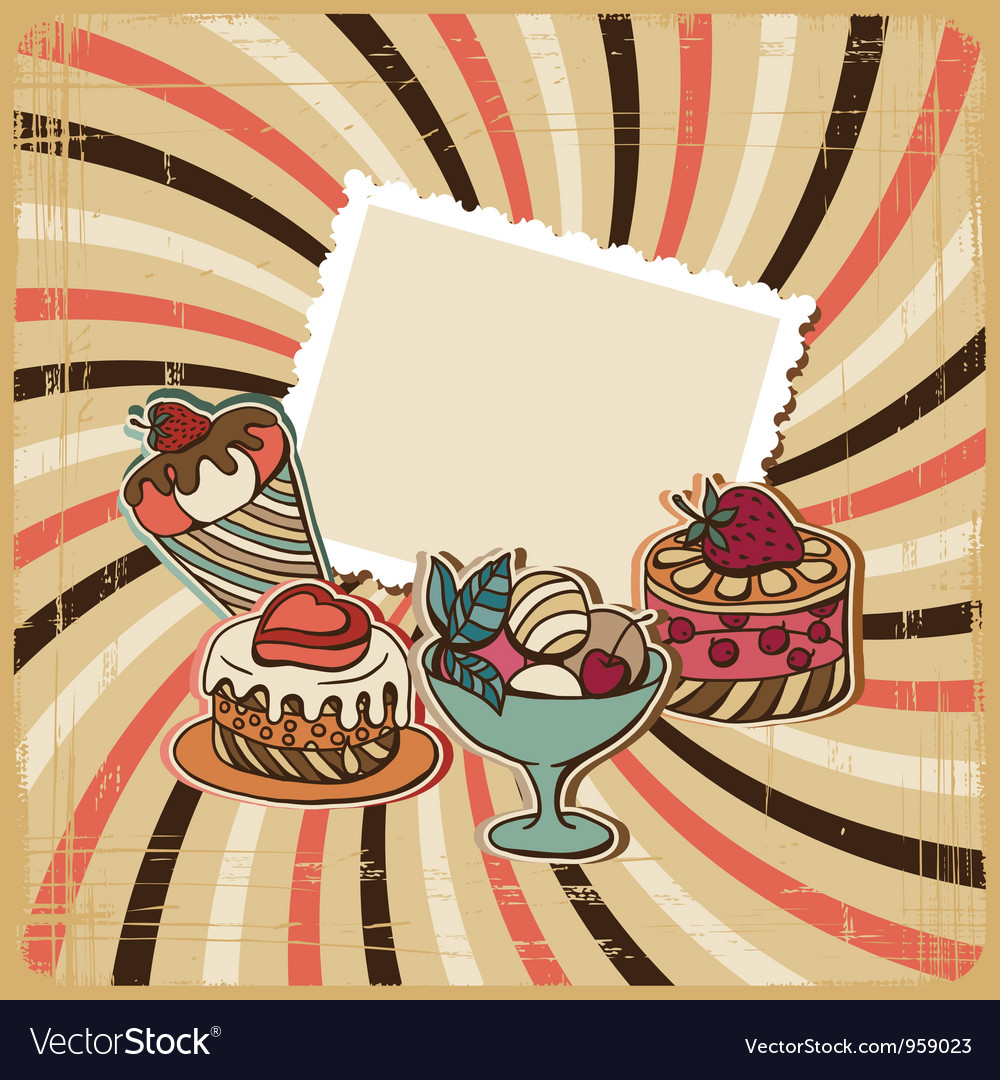 Background with of cake in retro style vintage vector | Price: 1 Credit (USD $1)