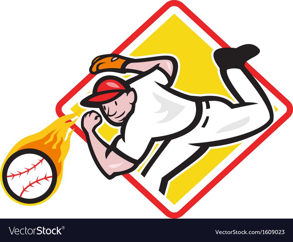Baseball pitcher throwing fire ball diamond vector | Price: 1 Credit (USD $1)