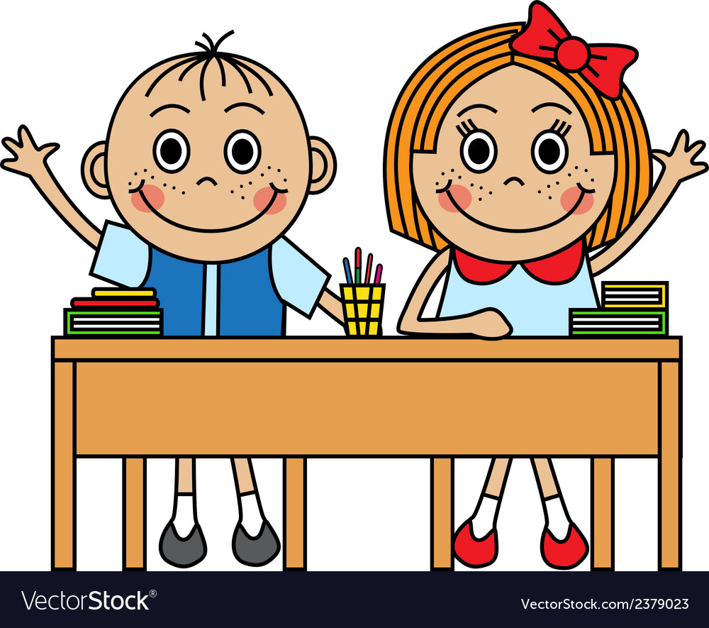 Cartoon children sitting at school desk vector | Price: 1 Credit (USD $1)