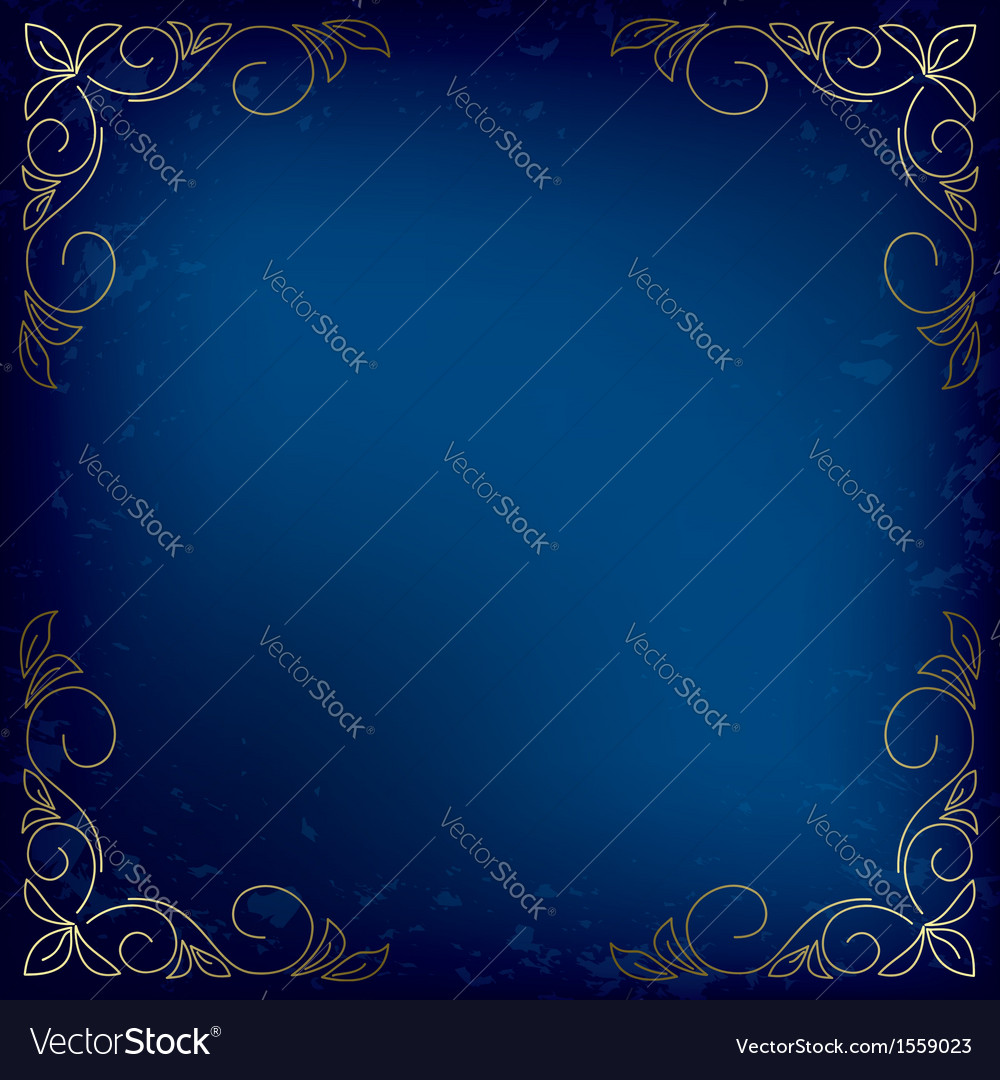 Dark blue card with gold decor vector | Price: 1 Credit (USD $1)