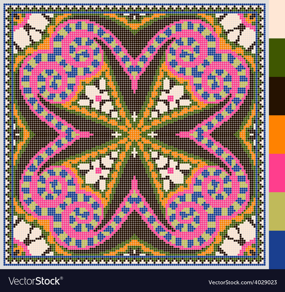 Geometric square pattern for cross stitch vector | Price: 1 Credit (USD $1)