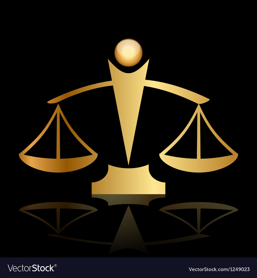Gold icon of justice scales on black background vector | Price: 1 Credit (USD $1)
