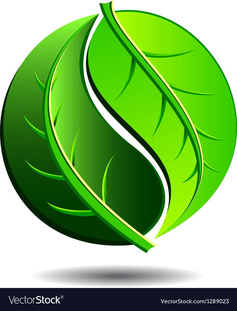 Green logo - yin yang leaf symbol vector | Price: 1 Credit (USD $1)