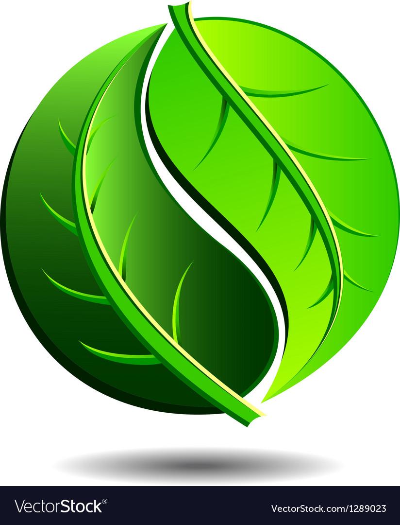 Green logo - yin yang leaf symbol vector | Price: 1 Credit (USD $1)