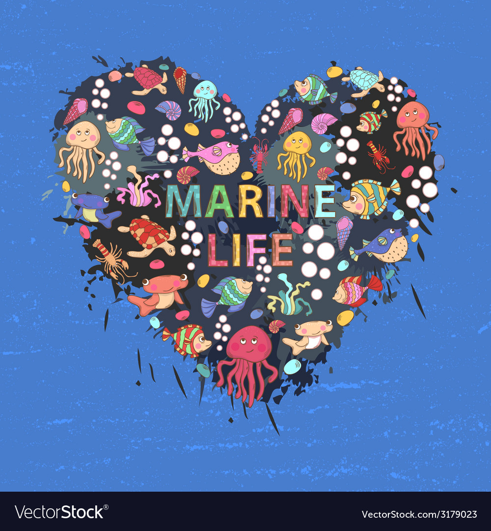 Marine life heart background vector | Price: 1 Credit (USD $1)