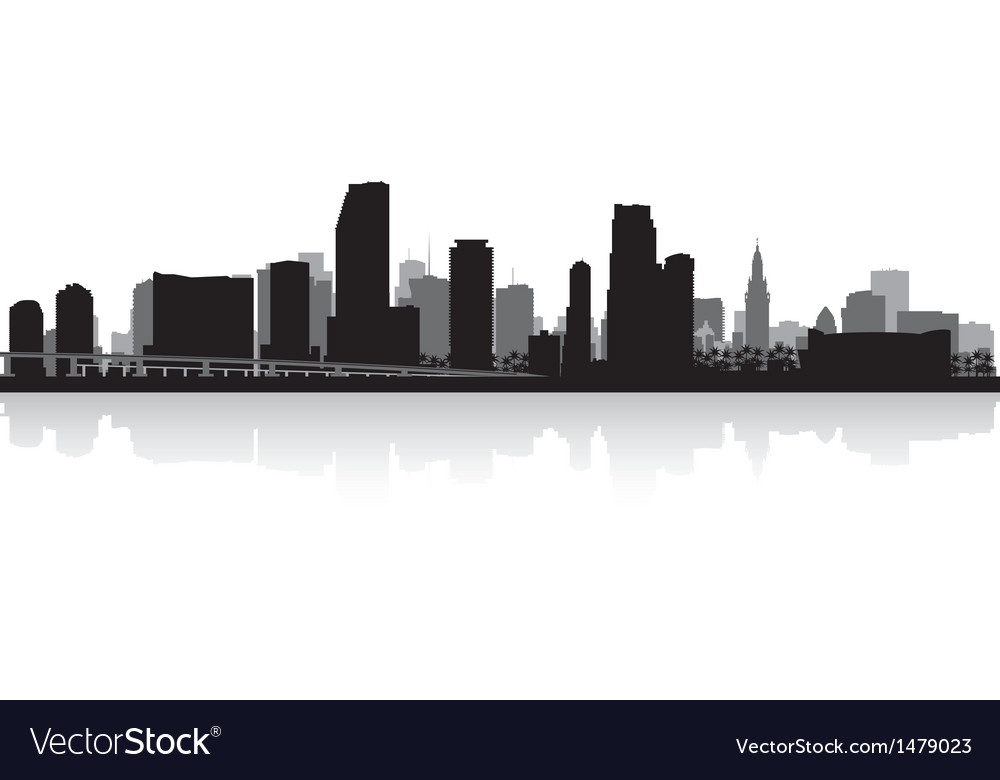 Miami usa city skyline silhouette vector | Price: 1 Credit (USD $1)
