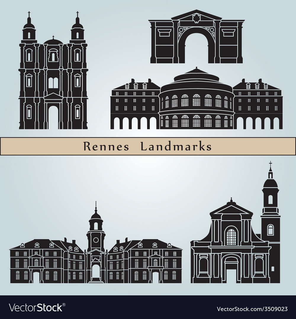 Rennes landmarks and monuments vector | Price: 1 Credit (USD $1)