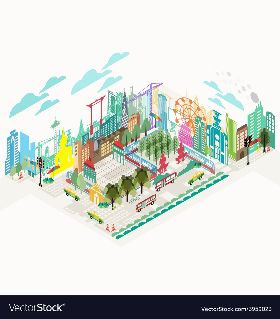 Set of isometric city social infographics vector | Price: 3 Credit (USD $3)