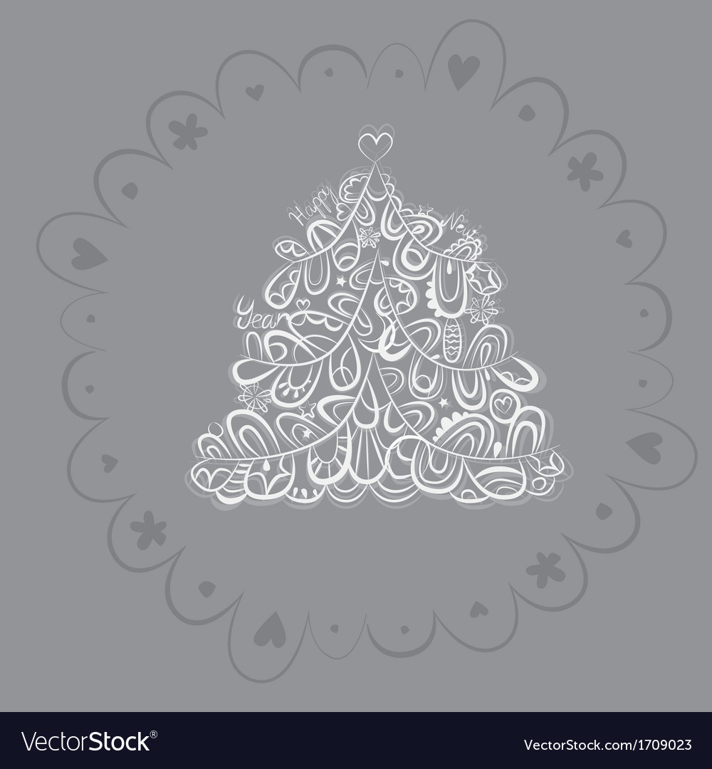 Silver fantasy fir tree design vector | Price: 1 Credit (USD $1)
