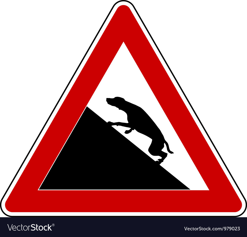 Slope warning sign for dogs vector | Price: 1 Credit (USD $1)