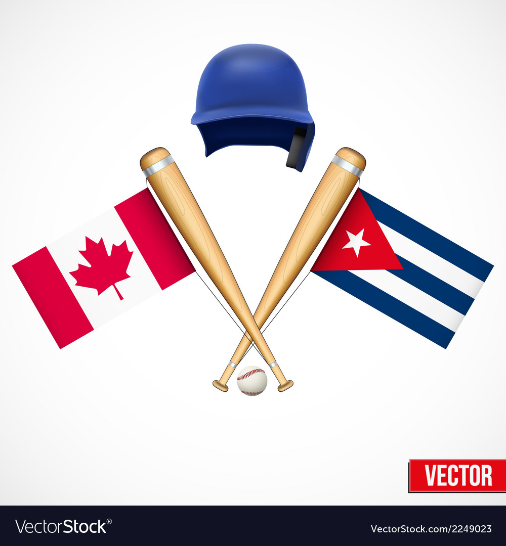 Symbols of baseball team canada and cuba vector | Price: 1 Credit (USD $1)