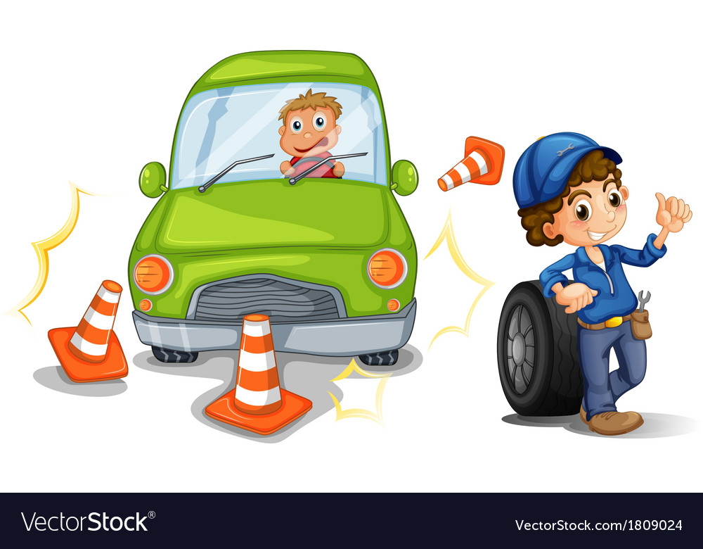 A car bumping the traffic cones vector | Price: 1 Credit (USD $1)
