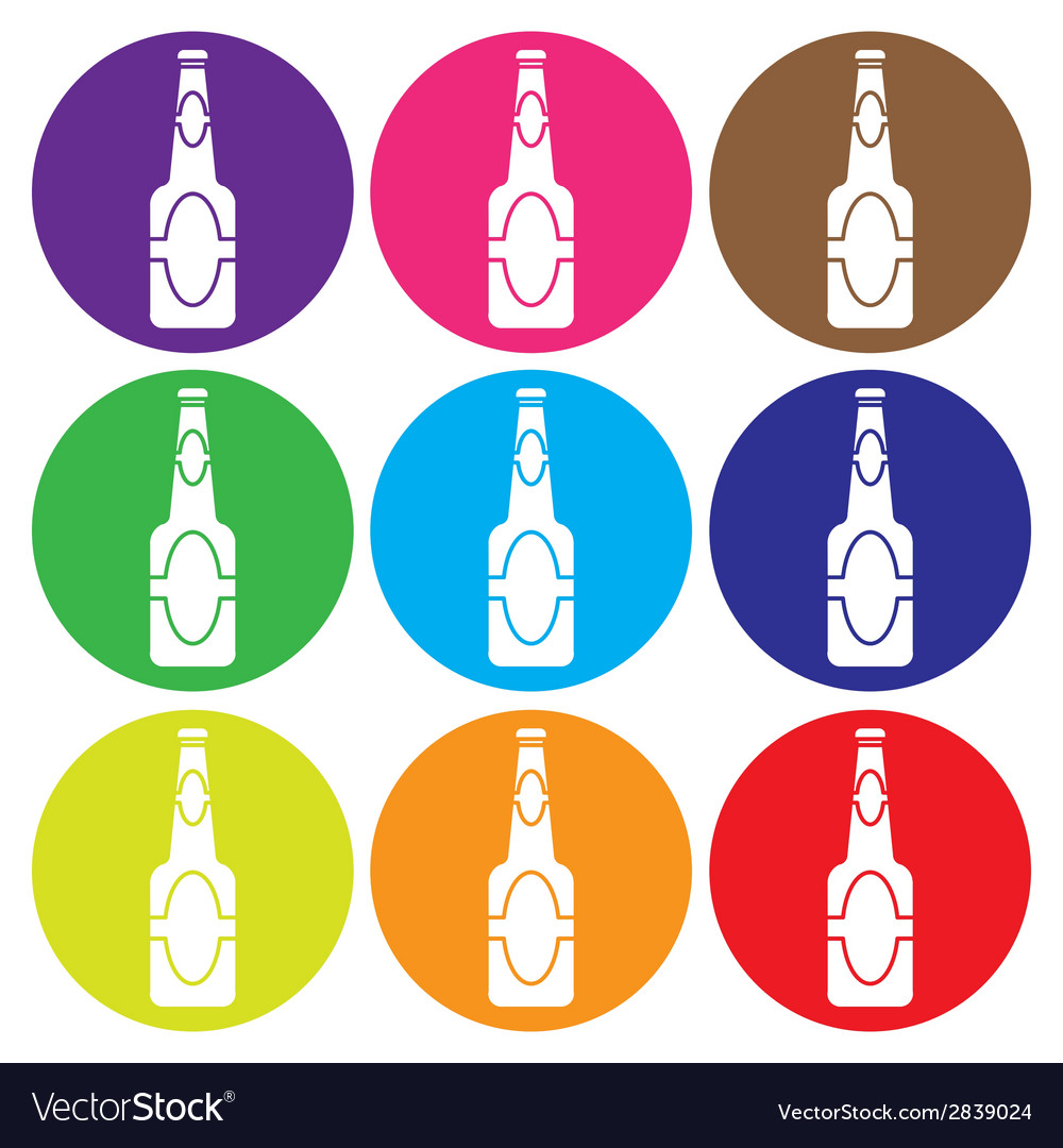 Beer bottle icon set vector | Price: 1 Credit (USD $1)