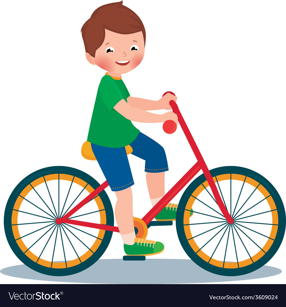 Boy on a bicycle vector | Price: 1 Credit (USD $1)