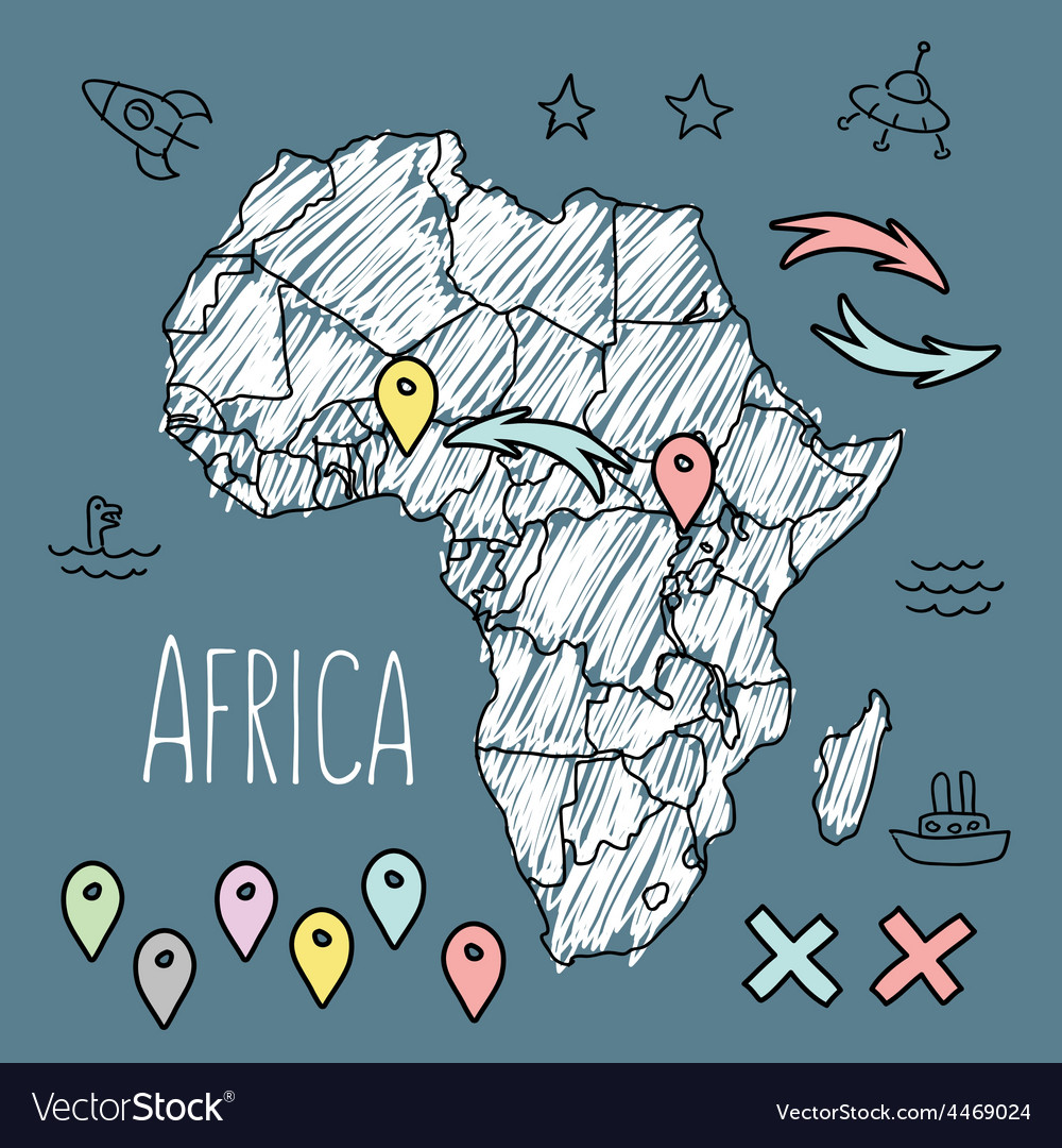Doodle africa map on blue chalkboard with pins and vector | Price: 1 Credit (USD $1)