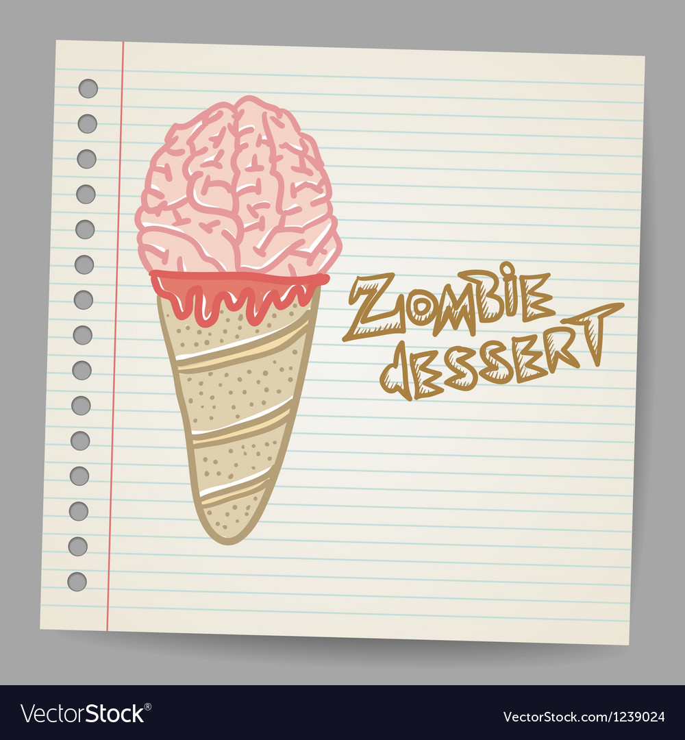 Doodle ice cream cone dessert vector | Price: 1 Credit (USD $1)