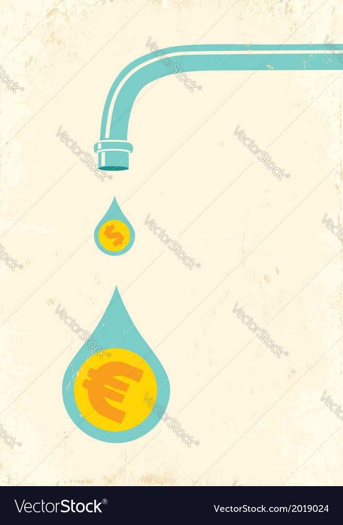 Faucet and money vector | Price: 1 Credit (USD $1)