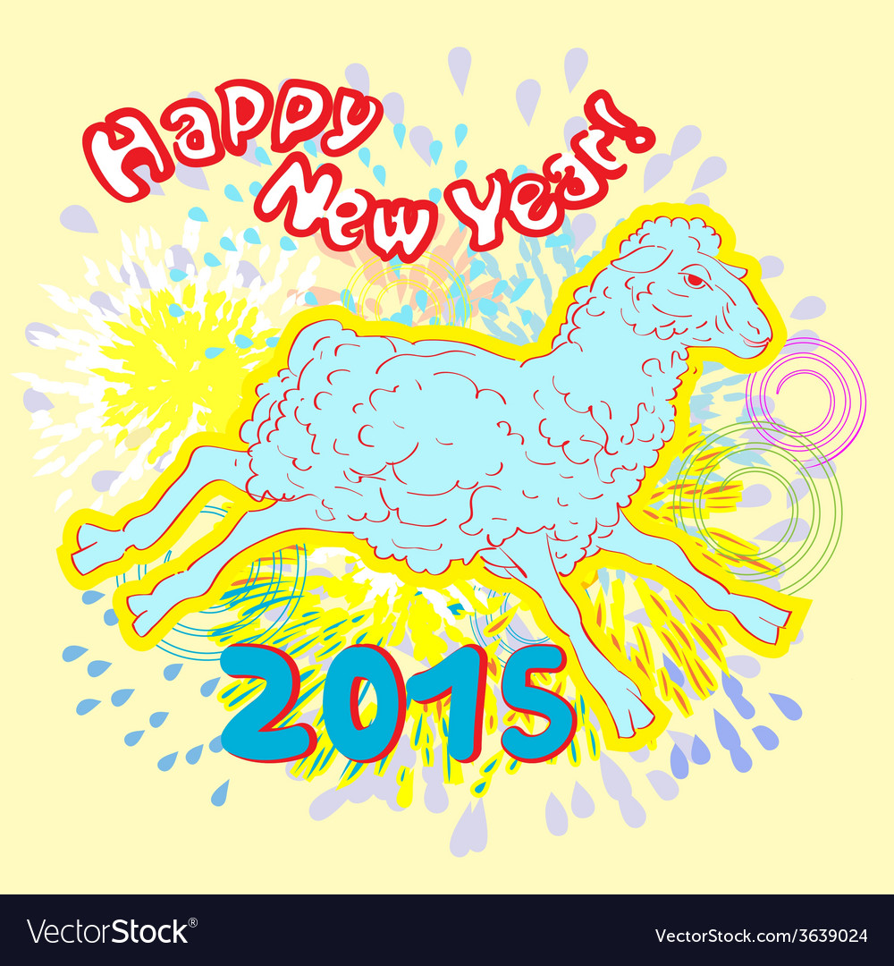 New year of sheep fireworks vector | Price: 1 Credit (USD $1)