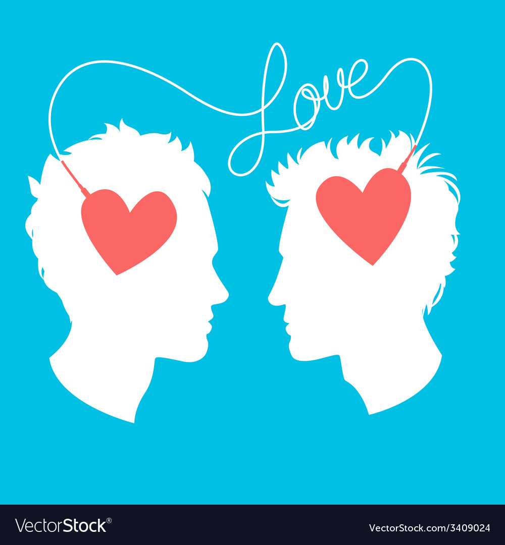 Profiles of two men connected by love wir vector | Price: 1 Credit (USD $1)