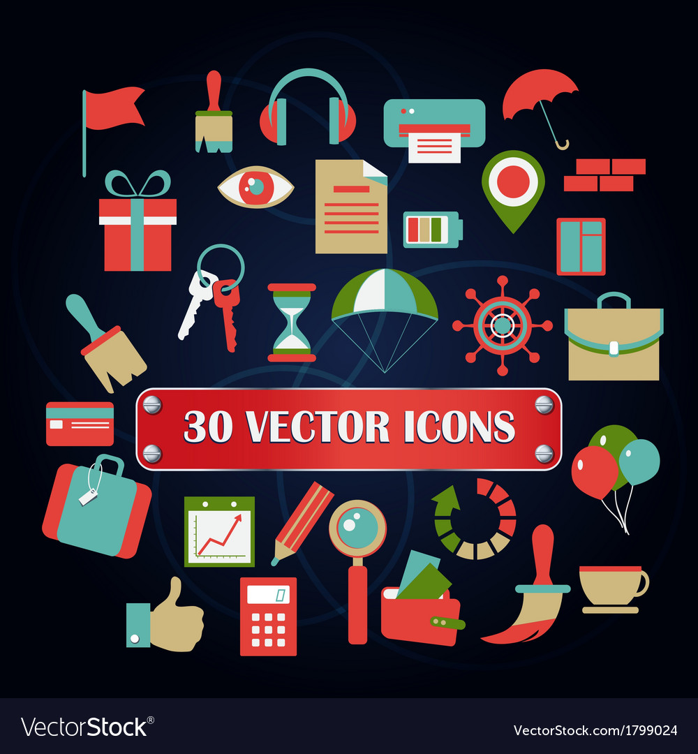 Set miscellaneous icons for web designer vector | Price: 1 Credit (USD $1)