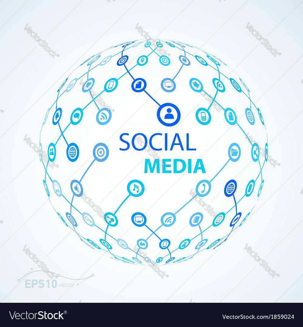 Social media element icon sphere worldwide vector | Price: 1 Credit (USD $1)