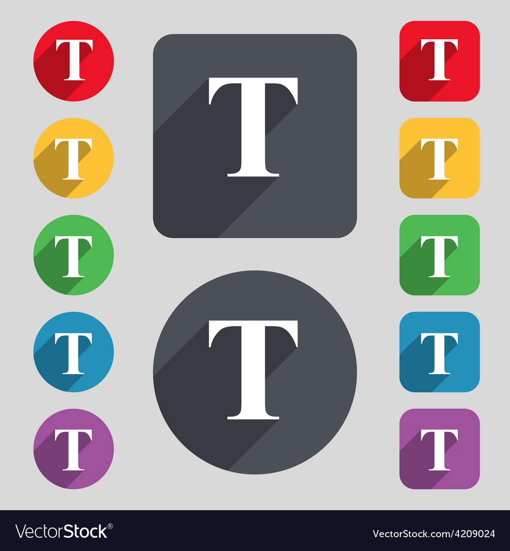 Text edit icon sign a set of 12 colored buttons vector   Price: 1 Credit (USD $1)